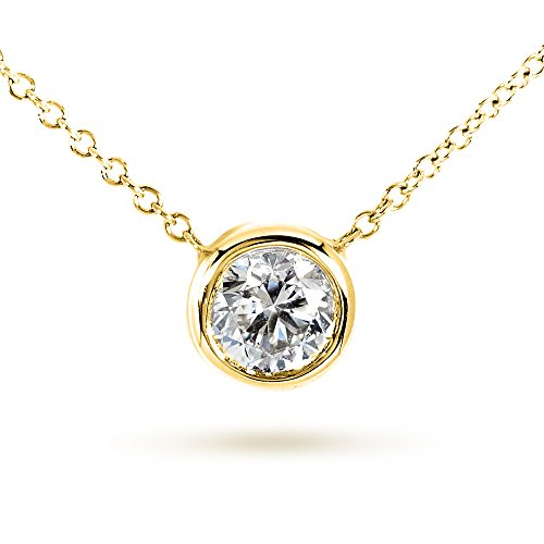 Bezel Round Moissanite Pendant - Round Bezel Moissanite Solitaire Necklace 14K Gold 16