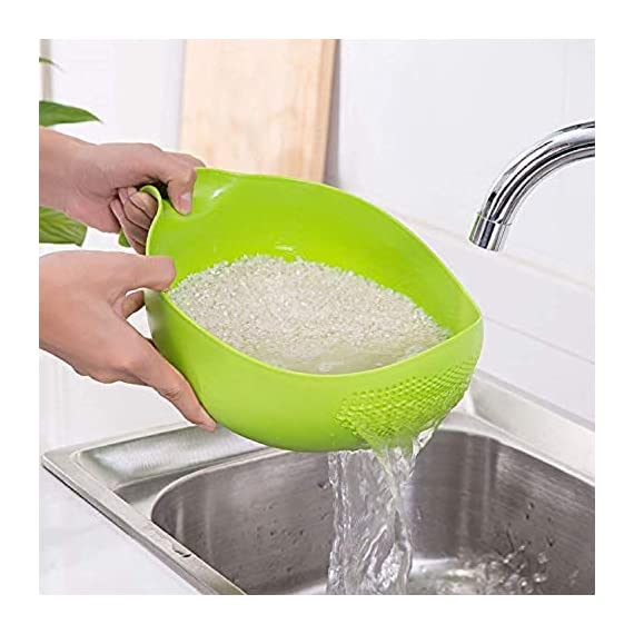 PRAMUKH FASHION ABS Plastic 11 Inch Multi Color Rice Bowl Rice Pulses Fruits Vegetable Noodles Pasta Washing Bowl & Strainer Good Quality & Perfect Size for Storing and Straining. Colander Random Colors 4