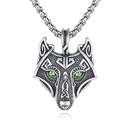 Holyheart Handcrafted Viking Necklace Norse Amulet Pendant Necklace Celtic Pagan Jewelry Pewter Viking Gift Jewelry for Men Unisex (Viking Wolf with Green Eyes)
