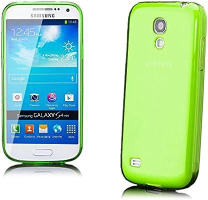 Samsung Galaxy S4 MINI | iCues caja transparente de TPU verde de neón | Transparente lámina protectora caso de la piel Claro Claro gel de silicona transparente de protección [protector de pantalla,