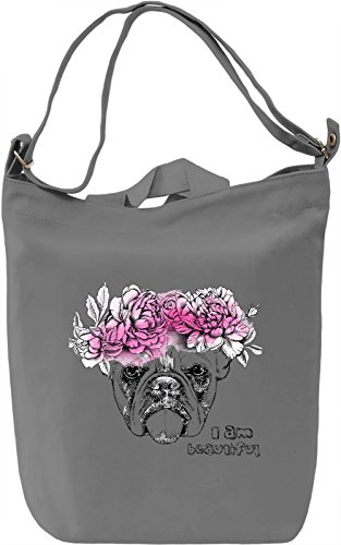 Dog With Flowers Crown Borsa Giornaliera Canvas Canvas Day Bag| 100% Premium Cotton Canvas| DTG Printing|