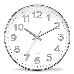 Genbaly 12 inch Modern Wall Clock, Silent Non-Ticking Quartz Decorative Battery Operated Wall Clock for Living Room Home Office School Silver Plastic Frame Glass Cover