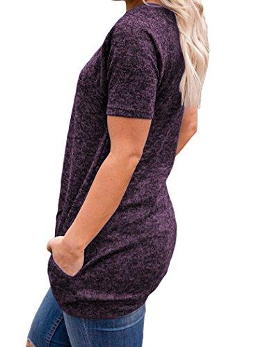 Halife Loose Tunic Shirt Short Sleeve, Womens Casual Pockets T Shirt Tops Purple XL by Halife (Image #5)
