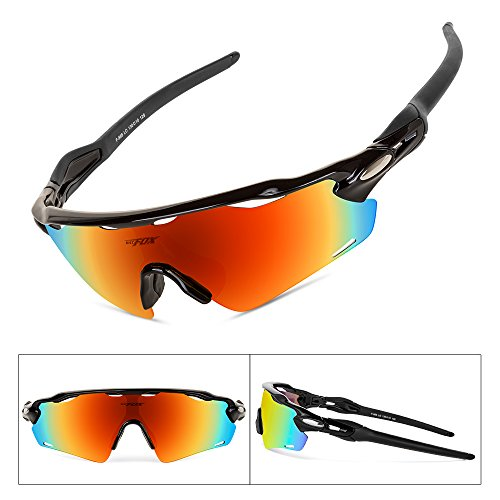 BATFOX Cycling Glasses Polarized Sport Sunglasses for Men Women Youth with Interchangeable Yellow Clear Lenses tr90 Road MTB Bike Cycle Running Baseball Golf Fishing Driving (Orange&red)