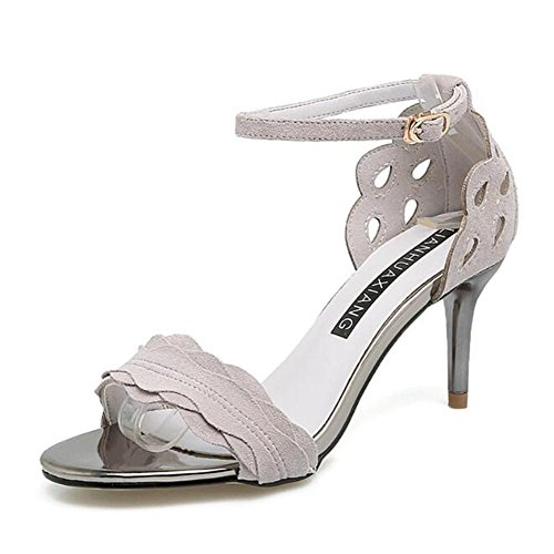 L@YC Women'S High Heels Summer and autumn Fine With The Word With Toe Suede Dance Sandals White
