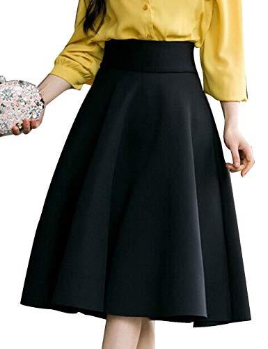 SOMTHRON Femmes lgant Classique A-Ligne Swing Jupes Taille Haute Vintage Au Genou Jupe Plus La Taille Party Wedding Dance Dress S-XXXXXL Noir