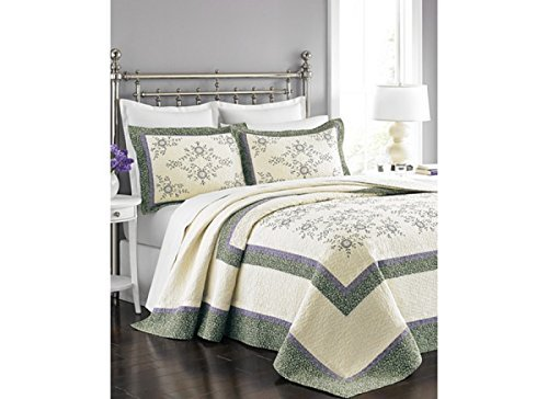 MARTHA STEWART - Valencia Eyelet Ivory & Purple King Bedspread