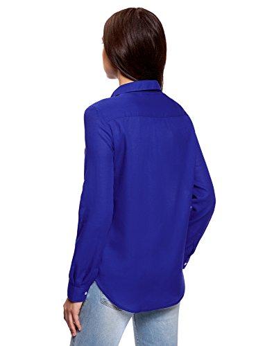 Femme en Chemise Ample 7500n Coton oodji Ultra Bleu 5a8Rw5g