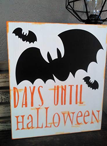 Larmai Days Until Halloween Sign, Halloween Countdown, Halloween Chalkboard Sign, Halloween Decor, Kids Halloween Sign,Halloween Calendar,Bat Decor Sayings Home Decor Wall Art Plaque Sign Presents ()