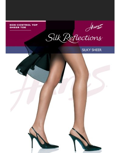 Hanes Women's Non Control Top Sandalfoot Silk Reflections Panty Hose, Jet, A/B (Sheer Pantyhose Sandalfoot)