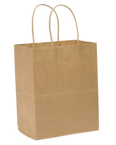 Duro ID# 87097 Tempo Shopping Bag 60# 100% Recycled Natural Kraft 250pk 8 x 4.5 x 10.25