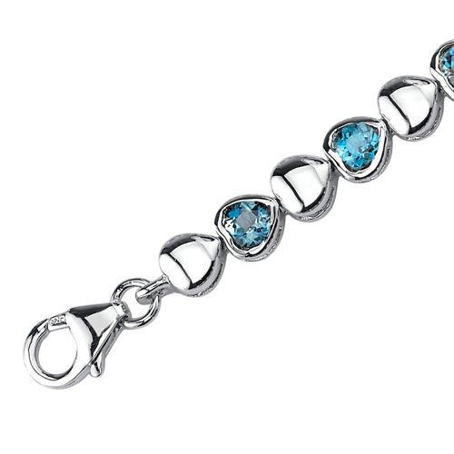 London Blue Topaz Bracelet Sterling Silver Rhodium Nickel Finish 3.50 Carats Round Cut
