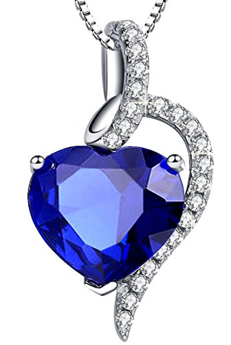 Mabella Sterling Silver Simulated Blue Sapphire Ruby Blue Topaz Heart Pendant Necklace, Gifts for Women