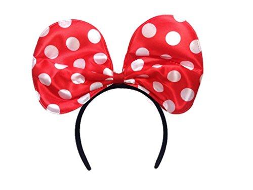 Sequin Big Bow Headband: H13 (Red Dot)