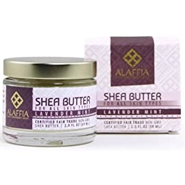 Alaffia Handcrafted Fair Trade Shea Butter 2 oz 27 100% FAIR TRADE: Feel good about how you are getting your products with 100% Certified Fair Trade Ingredients. PROTECT YOUR SKIN WITH A HANDCRAFTED FORMULA: Receive the full moisturizing and protective benefits of its unique fatty acid profile and Vitamins A and E with our traditionally handcrafted, unrefined shea butter. EVERYDAY FOR EVERYONE: Traditional formula suits all skin types.
