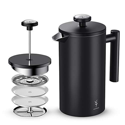 Coffee Digital Maker Black - Soulhand French Press Coffee Maker with Thermometer ,Double Wall Black Stainless Steel Design and 4 Layer Filters Blocking Powder Perfect for Moring Coffee Cold Brew Tea (34oz/1 Liter)