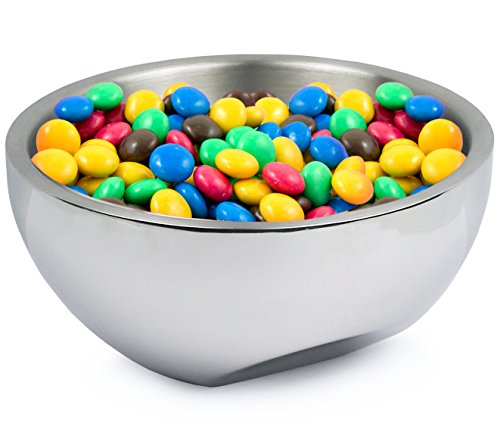 - Estilo Stainless Steel Nut and Candy Dish, Dual Angle Double-wall Serving Bowl, 7.75 inches diameter