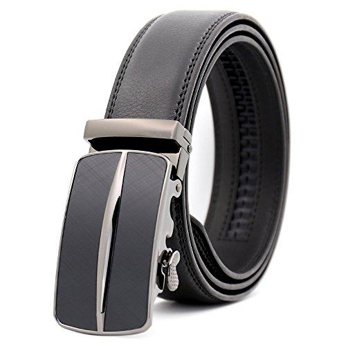 (KHC Men's Belt 100% Leather Belt Ratchet Automatic Adjustable Buckle Black XL)