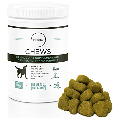 Glucosamine for Dogs with Arthritis by Khotso - Dog Chew Hip and Joint Supplement with, Organic Hemp Oil, Turmeric Curcumin, MSM Pain Relief Treat for Arthritis Support, Made in The USA, 120 Chews