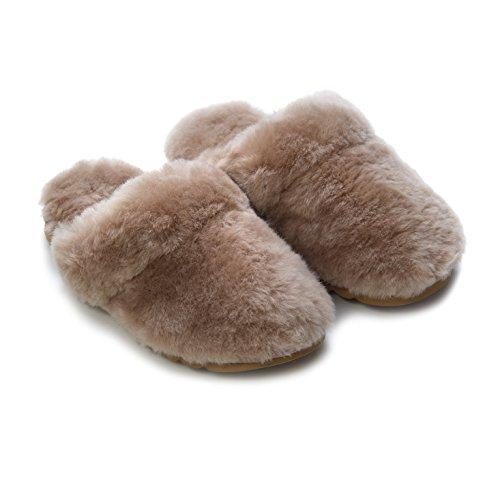 TommyTou - Zapatillas de estar por casa para mujer marrón gris (mushroom)