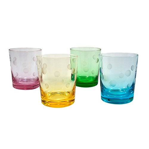 (ARTLAND Polka Dot DOF Glass, Set of 4, 12 oz, Multicolored )