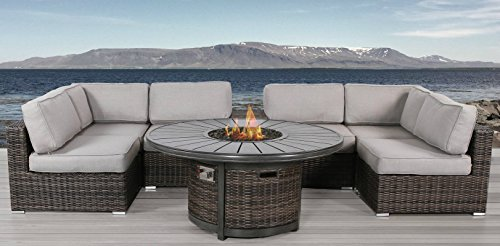 - Living Source International Patio Set with Fire Pit, Cup Holder 8 Piece Rattan Sectional Set by (8 Piece Fire Table, Camden Brown)