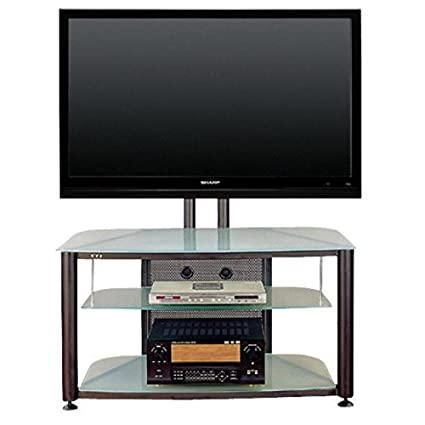 Amazoncom Black Flat Panel Tv Stand W Frosted Glass Shelves