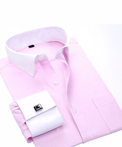 Cloudstyle Men's Dress Shirt Slim Fit Button Down Stripe Checked - Contrast Shirt Dress Collar