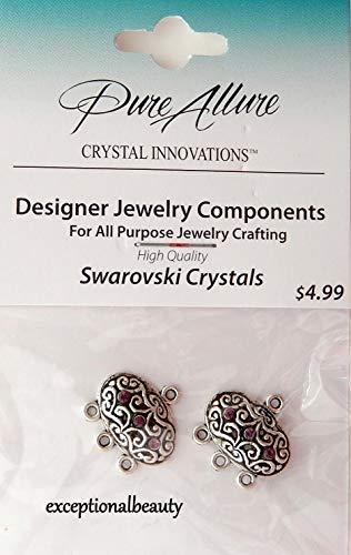 2 Silver Chandelier Earring Bead Drops w/Amethyst Swarovski Crystal Rhinestones