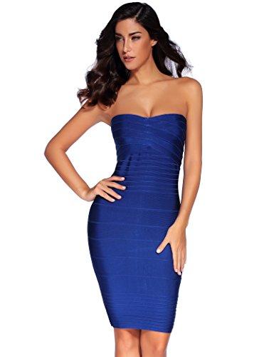 Meilun Women's Rayon Strapless Celeb Party Bandage Pencil Dress (Medium, Blue)