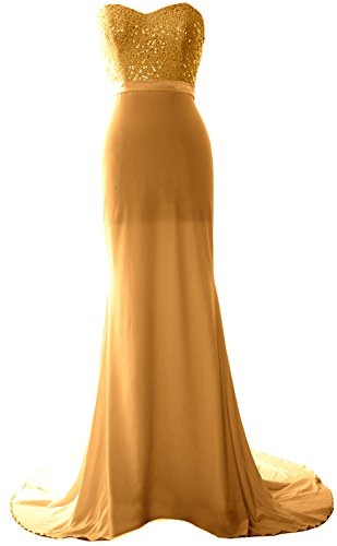 MACloth Women Mermaid Bridesmaid Dress Jersey Sequin Wedding Party Evening Gown Gold