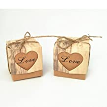Honeyhome 50pcs Love Heart Imitation Bark Particular Bonbonniere Kraft Paper Boxes with Burlap Twines for Wedding Favors Christmas Gift Boxes Birthday Candy Boxes