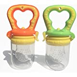 Baby Silicone Food Feeder - 2 PACK (Green/ Orange)