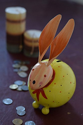 Unique Vintage Metal Bunny Shaped Piggy Bank Money Saver Coin Jar Gift Idea for Children Kids Boys Girls and Adults