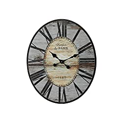 Creative Co-Op Distressed Wood Wall Clock, 29 Oval, Grey