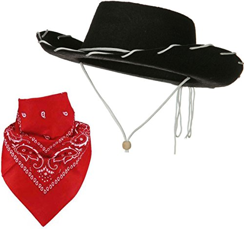 [Quality Child Cowboy Costume Hat WithFREE Cotton Paisley Bandanna - Funny Party Hats TM (Black Felt Cowboy Hat with Red Paisley] (Halloween Costumes With Red Bandana)