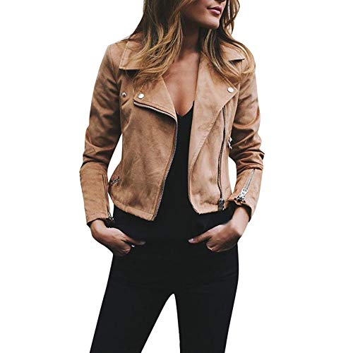 JESPER Womens Retro Rivet Zipper Up Bomber Jacket Casual Coat Faux Leather Outwear Khaki (Womens Brown Leather Bomber Jacket With Hood)