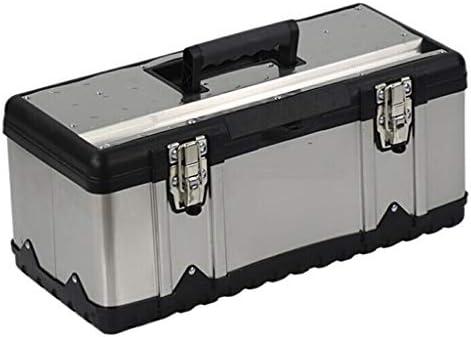 ツールオーガナイザー 金属製工具箱厚手のステンレス鋼製工具箱収納ボックス工具収納と取り外し可能なトレイ滑り止めハンドル5サイズ ポータブルツールボックス (Color : Silver, サイズ : L)