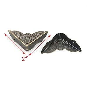 Antrader Decorative Corner Protector Metal Box Edge Safety Guard Desk Edge Cover, 2″ x 2″ Bronze Tone, Pack of 24