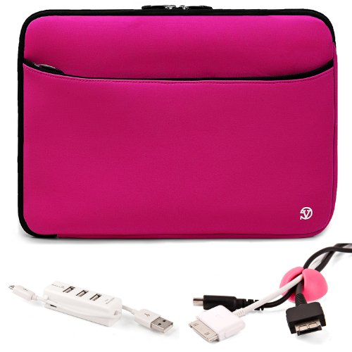 Vangoddy Mobile Carry On Travelling Convinient Soft Neoprene Sleeve Case For SONY VAIO T Series 13.3-Inch Touchscreen Ultrabook + Pink Cable Organizer + White 3 Port USB HUB with Micro USB Charger