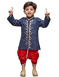 VASTRAMAY JBN Creation Boys' Blue Linen Kurta Dhoti Pant Set(VASBDK040BU)