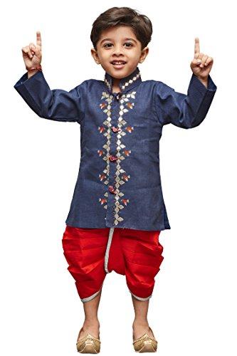 Kurta Dhoti (VASTRAMAY JBN Creation Boys' Blue Linen Kurta and Dhoti Pant Set(VASBDK040BU_14))