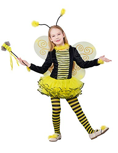 IKALI Girls Bee Costume, Deluxe Animal Fancy Dress Outfit with Wings (10pcs Set) -