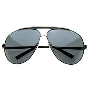 zeroUV - 70's Big Frame Oversized Aviator Sunglasses for Men and Women 70mm (Gunmetal/Smoke)