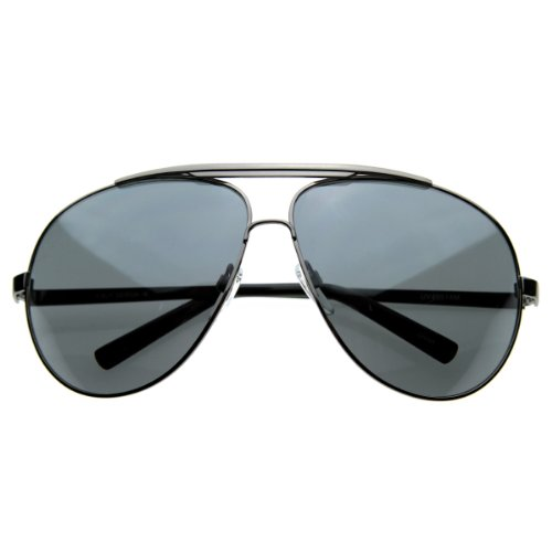 zeroUV - 70's Big Frame Oversized Aviator Sunglasses for Men and Women 70mm (Gunmetal/Smoke) - Big Frame