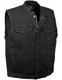Men's Concealed Snap Denim Club Style Vest w/Hidden Zipper (Black,)