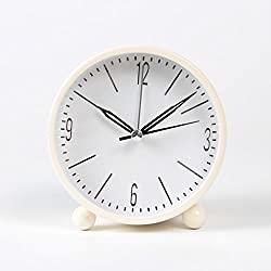 Small alarm clock simple student bedside Mini Metal luminous alarm clock,Beige