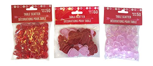 Translucent Pink Acrylic Hearts and Translucent Red Acrylic Hearts with Table Scatter Glitter Hearts for Vase Fillers, Table Scatter, or Decoration Bundle Set. About 160 Pieces in (Valentine Gems)