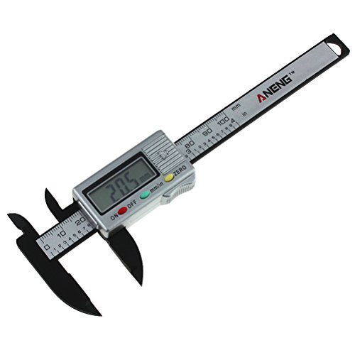(BESTOMZ Electronic Digital Caliper Inch/Metric Conversion 0-4 Inch/100 mm Carbon Fiber Gauge Micrometer Extra Large LCD Screen Featured Measuring Tool - Silver)