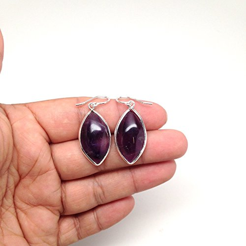 Cab Amethyst Ring - 32.5 cts Gorgeous Amethyst Navette Cab Earrings Sterling Silver Handmade from Brazil, Buyer Will Receive Exact Item Pictured, E039AM
